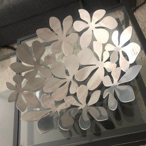 Ikea Large Stainless Steel Decorative Floral Bowl